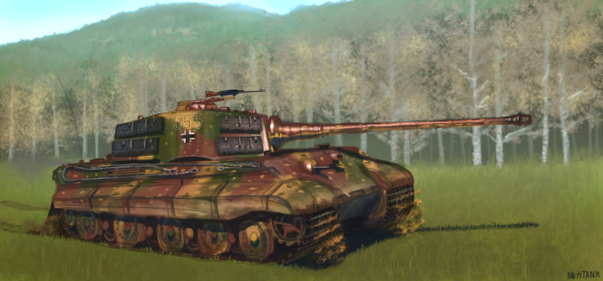 artist_name caterpillar_tracks day forest grass ground_vehicle gun iron_cross machine_gun military military_vehicle motor_vehicle mountain nature no_humans ogata_tank original sky tank tiger_ii tree weapon