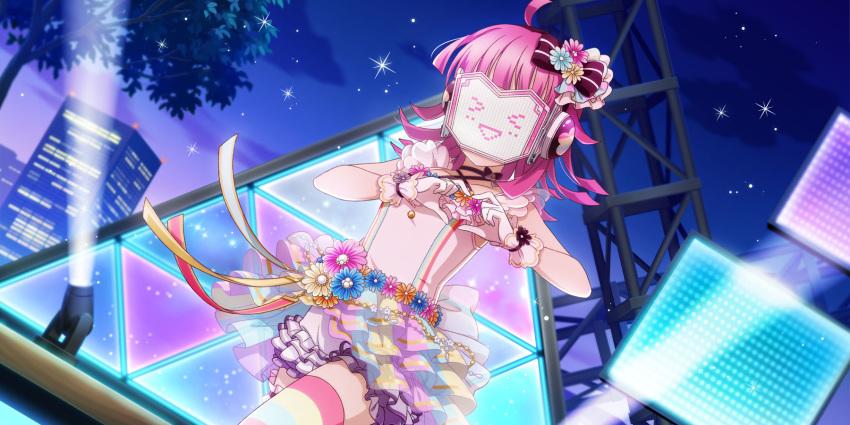 22/7 covered_face dress pink_hair short_hair smile tennouji_rina