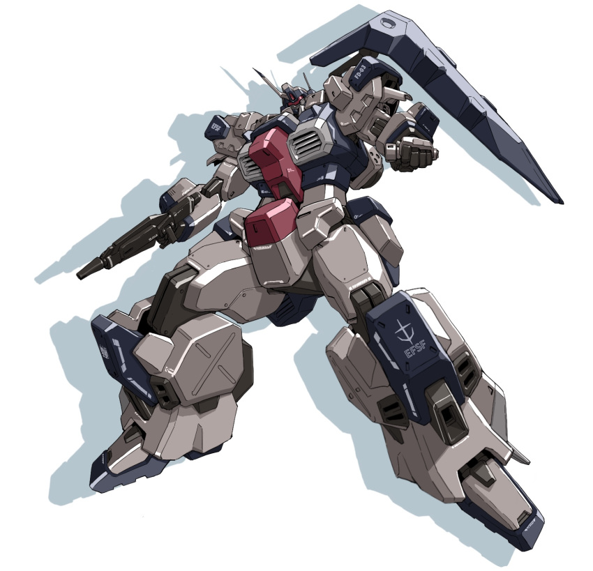 beam_saber floating gun gundam gundam_unicorn gustav_karl highres holding holding_gun holding_weapon looking_down making-of_available mecha no_humans roko_(project_1104) shadow solo visor weapon white_background