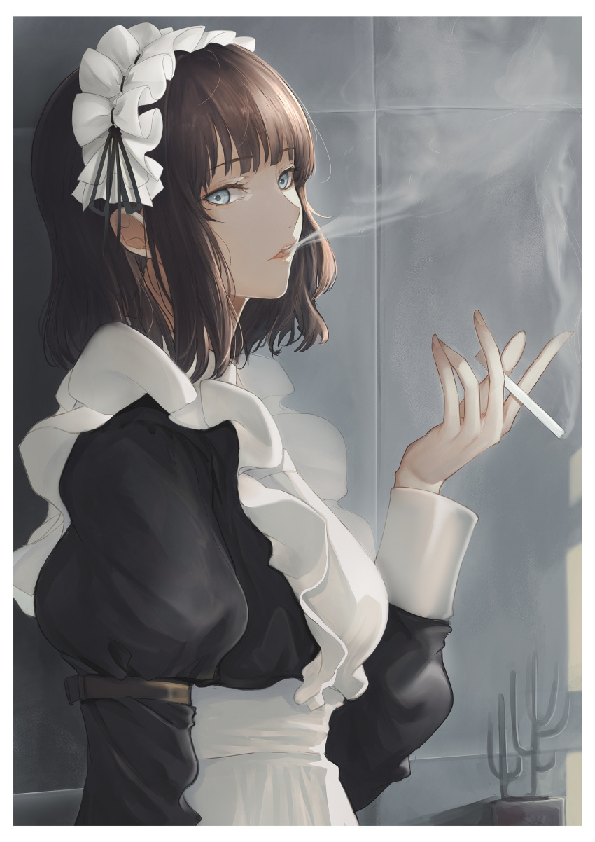 1girl absurdres apron arm_strap bangs black_dress black_ribbon blue_eyes border brown_hair cigarette dress frilled_headband hand_up highres holding holding_cigarette looking_at_viewer maid maid_apron maid_dress maid_headdress marumoru original parted_lips ribbon short_hair smoking solo upper_body white_apron white_border