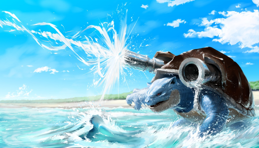 blastoise blue_sky cannon clouds day firing from_side gen_1_pokemon highres hydro_cannon_(pokemon) no_humans ocean outdoors pokemon pokemon_(creature) sky standing teru_sakura waves