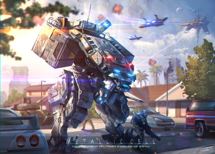 1boy aircraft airplane car concept_art fighter_jet ground_vehicle gun highres holding holding_gun holding_weapon jet mecha military military_vehicle motor_vehicle original raruru science_fiction tank walking weapon