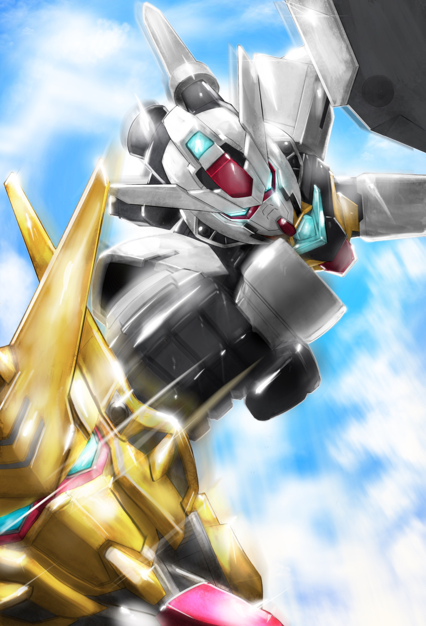 495032158 absurdres akatsuki_gundam beam_saber blue_eyes clenched_hand close-up core_gundam falling gundam gundam_build_divers gundam_build_divers_re:rise highres mecha motion_blur no_humans punching v-fin
