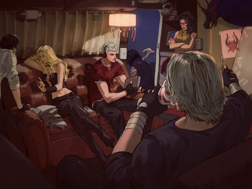 3boys 3girls arm_tattoo arm_up arm_wrap black_gloves black_pants black_shirt blonde_hair book boots cable cane cassette_player ceiling_light closed_eyes commentary corset couch crop_top crossed_arms crossed_legs cup dante_(devil_may_cry) devil_may_cry_5 drawing eating facing_away fingerless_gloves from_behind full_body gloves headphones high_heel_boots high_heels holding holding_book holding_cup holding_spoon jacket lady_(devil_may_cry) long_hair multiple_boys multiple_girls nero_(devil_may_cry) nico_(devil_may_cry) night nobou_(32306136) pants paper_stack parfait red_shirt shirt short_hair short_sleeves silver_hair sitting sleeveless_coat sleeves_folded_up spoon standing tattoo trish_(devil_may_cry) v_(devil_may_cry) white_jacket yellow_shirt