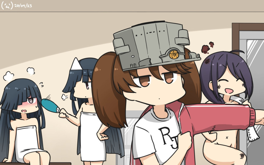4girls @_@ ahoge ariake_(kantai_collection) bench black_hair brown_eyes closed_eyes clothes_writing commentary_request convenient_censoring dated door dual_persona fan fanning ghost hair_over_one_eye hamu_koutarou hayashimo_(kantai_collection) highres jacket kantai_collection long_hair multiple_girls nude paper_fan red_jacket ryuujou_(kantai_collection) shirt smile t-shirt towel track_jacket triangular_headpiece twintails uchiwa undressing upper_body very_long_hair visor_cap white_towel x_navel