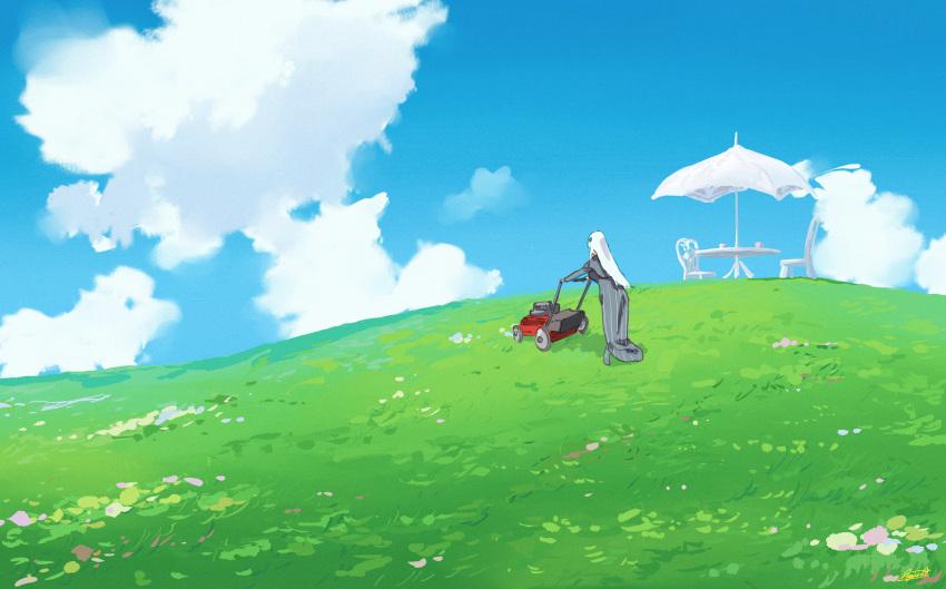 blue_sky chair clouds dress echidna_(re:zero) grass highres lawnmower outdoors re:zero_kara_hajimeru_isekai_seikatsu ryusei_hashida scenery sky table umbrella white_hair