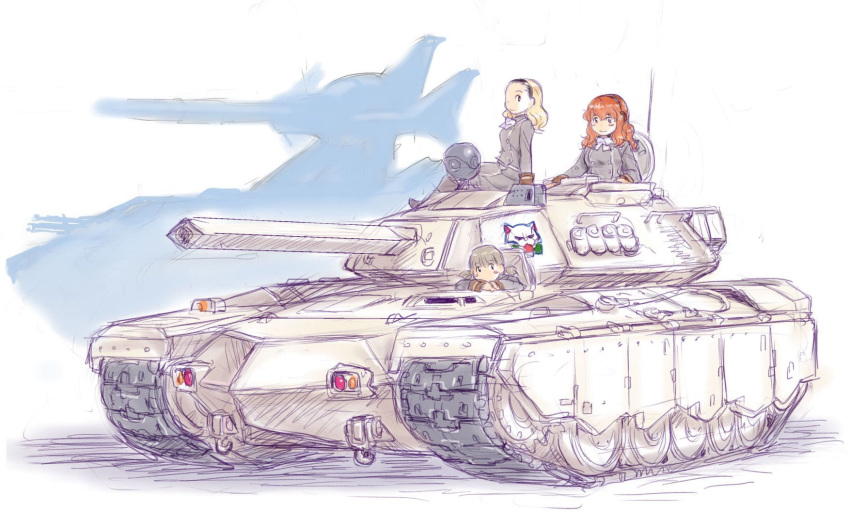 3girls black_eyes blonde_hair blush breasts caterpillar_tracks commentary_request emblem ground_vehicle gundam gundam_ms_igloo highres kosai_takayuki light_brown_hair long_hair looking_at_viewer magella-eins magella_attack military military_uniform military_vehicle motor_vehicle multiple_girls orange_hair original silhouette smile tank traditional_media twintails uniform