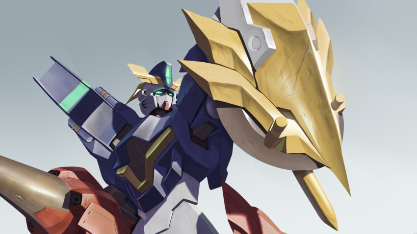 english_commentary glowing glowing_eyes gradient gradient_background green_eyes gundam gundam_aegis_knight gundam_build_divers gundam_build_divers_re:rise highres holding holding_lance holding_polearm holding_shield holding_weapon lance looking_up mecha myjet no_humans polearm science_fiction shield solo v-fin weapon