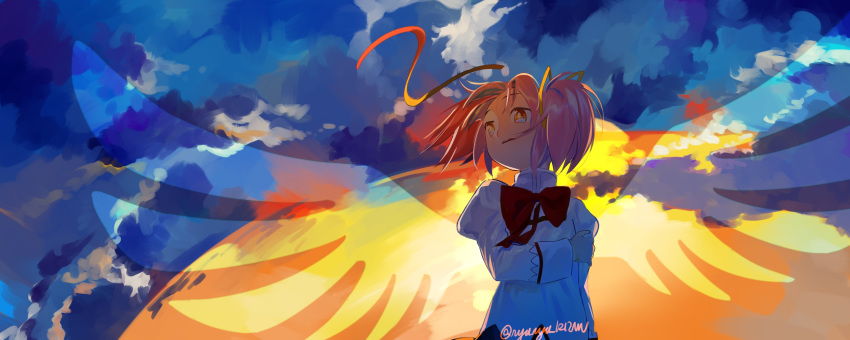 1girl absurdres arm_at_side backlighting blue_sky clouds cloudy_sky commentary_request expressionless facing_viewer flat_chest floating_hair gradient gradient_sky hair_ribbon hand_on_own_arm high_collar highres juliet_sleeves kaname_madoka long_sleeves looking_afar mahou_shoujo_madoka_magica mitakihara_school_uniform neck_ribbon orange_sky outdoors parted_lips pink_hair puffy_sleeves red_ribbon red_sky ribbon sate_(ryu_ryu_1212m) school_uniform self_hug shaded_face shiny shiny_hair sky solo sunlight sunset transparent_wings twintails twitter_username uniform upper_body wide-eyed wide_shot wind wind_lift wings yellow_eyes yellow_ribbon