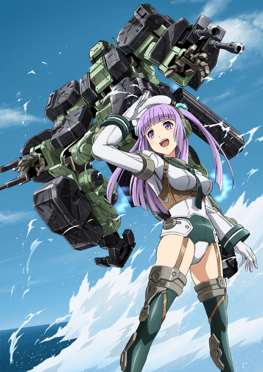 1girl bangs boots breasts frame_arms_girl greifen highres kumichou_(ef65-1118-ef81-95) looking_to_the_side mecha mecha_request medium_breasts ocean open_hands open_mouth purple_hair thigh-highs thigh_boots violet_eyes