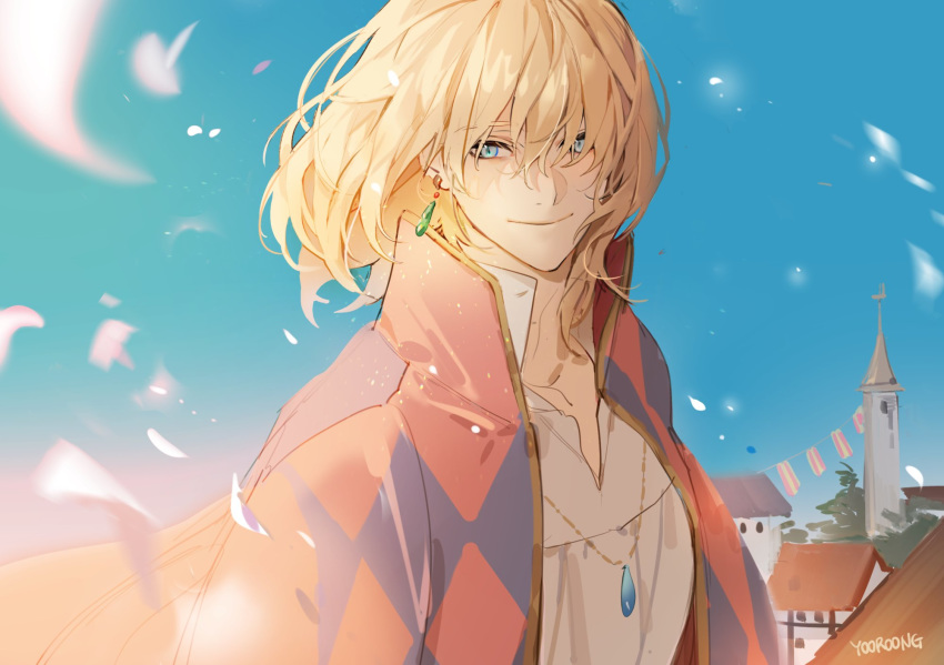 1boy bangs blonde_hair blue_eyes building cape collared_shirt day earrings hair_between_eyes highres howl_(howl_no_ugoku_shiro) howl_no_ugoku_shiro jewelry male_focus necklace outdoors petals print_cape shirt signature sky smile solo upper_body white_shirt yooroongoo