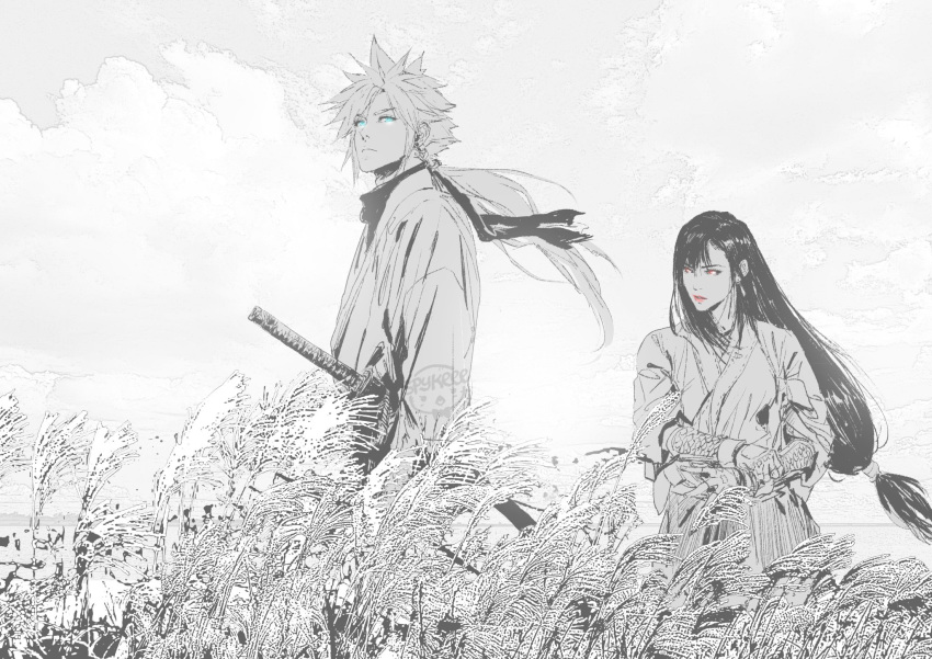 1boy 1girl alternate_costume blonde_hair blue_eyes cloud_strife clouds fighting_stance final_fantasy final_fantasy_vii focused gauntlets ghost_of_tsushima highres japanese_clothes kimono lipstick long_hair looking_afar looking_at_viewer makeup monochrome outdoors red_eyes samurai scarf sheath spiky_hair spykeee1945 standing sword tied_hair tifa_lockhart weapon wheat_field wind