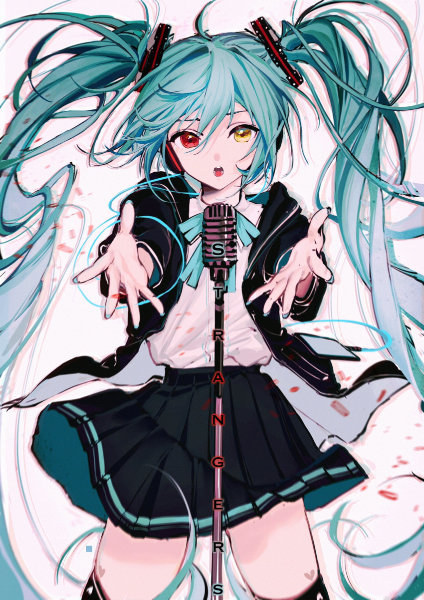 1girl aqua_hair aqua_nails aqua_neckwear black_jacket black_legwear black_skirt commentary cowboy_shot foreshortening hair_ornament hatsune_miku headphones heart heterochromia highres hood hooded_jacket jacket long_hair looking_at_viewer microphone microphone_stand miniskirt music nail_polish neck_ribbon open_mouth outstretched_arms pleated_skirt project_diva_(series) red_eyes ribbon rumoon_cocoa shirt silent_voice_(module) singing skirt solo song_name standing thigh-highs twintails very_long_hair vocaloid white_background white_shirt yellow_eyes
