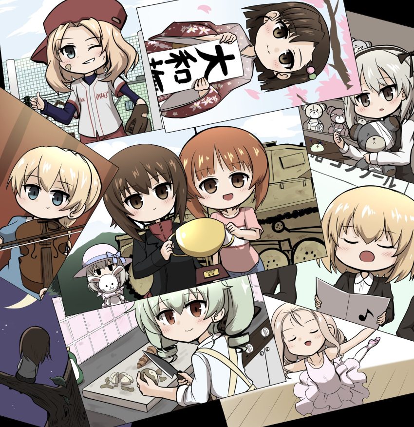 6+girls absurdres anchovy_(girls_und_panzer) apron asymmetrical_bangs ballerina ballet ballet_slippers bandages bandaid bandaid_on_head bangs baseball_cap baseball_jersey baseball_mitt bird black_jacket black_shirt black_skirt blonde_hair blue_eyes blue_sky blunt_ends boko_(girls_und_panzer) bow braid branch brown_eyes brown_hair casual cherry_blossoms closed_eyes closed_mouth clouds cloudy_sky cooking crescent_moon dancing dango dango_hair_ornament darjeeling_(girls_und_panzer) dirty dirty_face dress drill_hair eighth_note eyebrows_visible_through_hair floral_print food food_themed_hair_ornament frown girls_und_panzer green_hair grey_shirt grin ground_vehicle hair_intakes hair_ornament hat hat_bow headband high-waist_skirt highres holding holding_instrument holding_knife holding_needle holding_stuffed_toy indoors instrument jacket japanese_clothes jitome katyusha_(girls_und_panzer) kay_(girls_und_panzer) kimono knife kumo_(atm) layered_skirt leg_up light_blush light_brown_hair light_frown long_hair long_sleeves marie_(girls_und_panzer) medium_hair mika_(girls_und_panzer) military military_uniform military_vehicle moon motor_vehicle multiple_girls music musical_note needle night night_sky nishi_kinuyo nishizumi_maho nishizumi_miho one_eye_closed one_side_up open_mouth outdoors outstretched_arms pantyhose panzerkampfwagen_ii parted_lips photo_(object) pink_dress pink_shirt playing_instrument red_eyes red_headband red_kimono red_shirt sanshoku_dango sewing shimada_arisu shirt short_hair siblings sideways_hat silver_hair singing sisters sitting skirt sky sleeves_rolled_up smile spread_arms standing standing_on_one_leg stuffed_animal stuffed_bunny stuffed_toy sun_hat suspender_skirt suspenders t-shirt tank teddy_bear thumbs_up trait_connection tree trophy turtleneck tutu twin_braids twin_drills twintails uniform viola_(instrument) wagashi white_headwear white_legwear white_shirt wide_sleeves yellow_apron younger