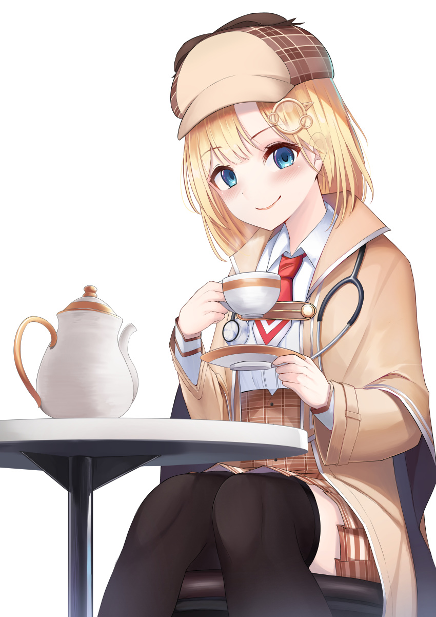 1girl absurdres bangs black_legwear blonde_hair blue_eyes blush breasts brown_capelet brown_headwear brown_skirt closed_mouth collared_shirt cup feet_out_of_frame hair_ornament hat highres holding holding_cup hololive hololive_english jacket layered_sleeves long_sleeves looking_at_viewer monocle_hair_ornament necktie plaid plaid_skirt pleated_skirt red_neckwear saucer shirt simple_background sitting skirt smile solo stethoscope table teacup teapot thigh-highs virtual_youtuber watson_amelia white_background white_shirt yatsucchie