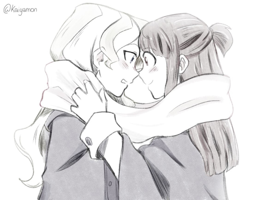 2girls blush couple diana_cavendish embarrassed eye_contact happy kagari_atsuko kaiyamon little_witch_academia long_hair looking_at_another monochrome multiple_girls open_mouth scarf simple_background smile surprised wavy_hair white_background yuri