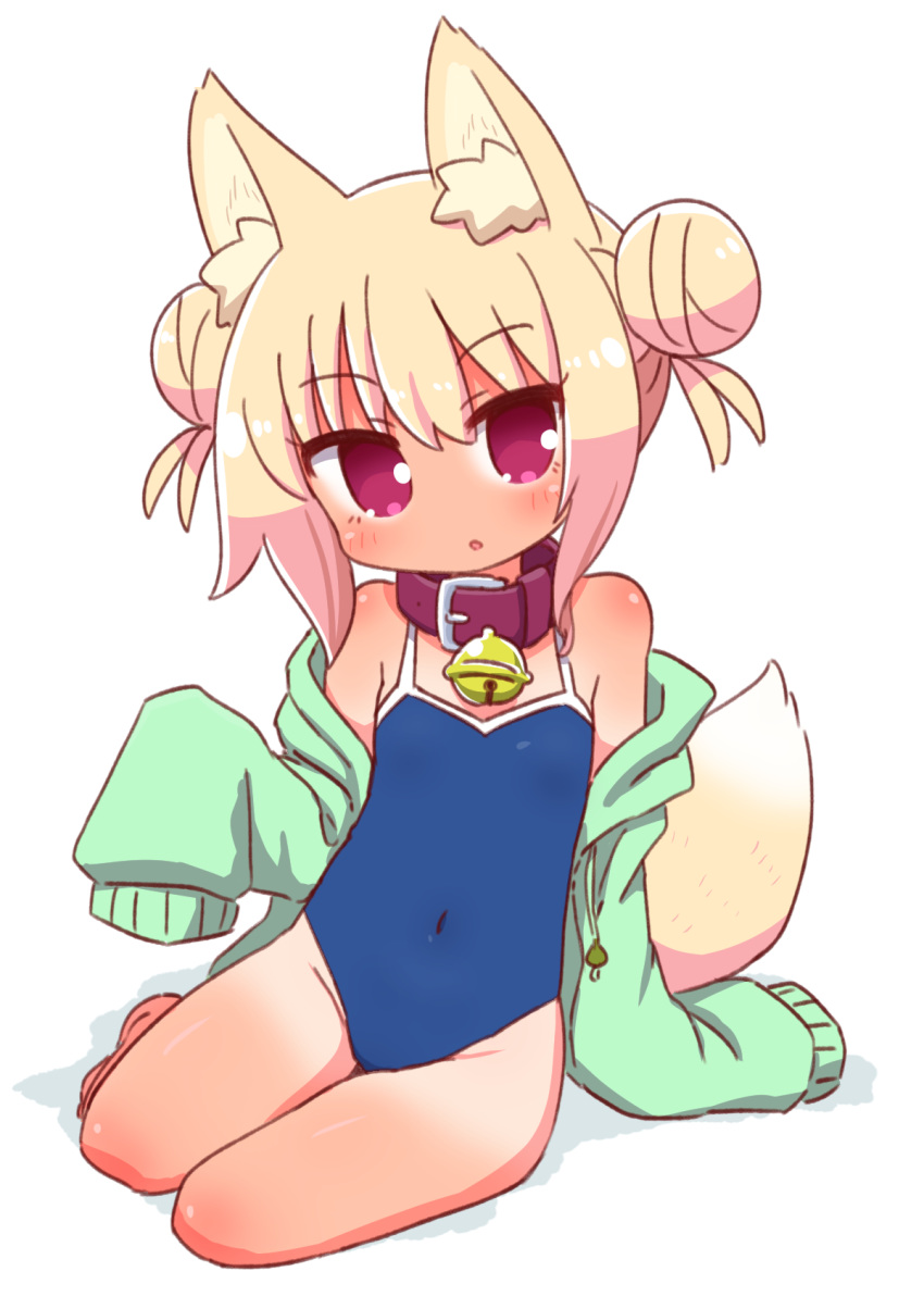 1girl :o animal_ear_fluff animal_ears bare_legs bare_shoulders barefoot bell bell_collar blonde_hair blue_swimsuit blush brown_collar collar competition_school_swimsuit covered_navel double_bun drawstring fox_ears fox_girl fox_tail green_jacket groin highres jacket jingle_bell kemomimi-chan_(naga_u) long_sleeves looking_at_viewer naga_u off_shoulder one-piece_swimsuit open_clothes open_jacket original parted_lips shadow sidelocks sitting sleeves_past_fingers sleeves_past_wrists solo swimsuit tail tan tanline white_background yokozuwari