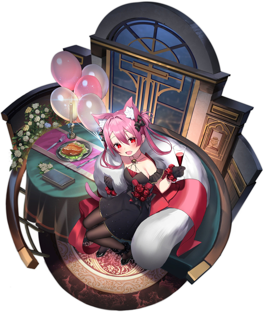 1girl :d alcohol animal_ear_fluff animal_ears asagi_yuna azur_lane balloon bare_shoulders black_dress black_footwear bow brown_legwear cat_ears cat_girl cat_tail couch cup dress drinking_glass fang feather_boa flower from_above full_body hair_bow hatsushimo_(azur_lane) hatsushimo_(ceaseless_celebration)_(azur_lane) highres holding holding_cup long_hair looking_at_viewer official_art open_mouth pantyhose pink_hair red_eyes red_flower red_ribbon ribbon rose shoes short_dress sitting smile solo table tail transparent_background twintails wine