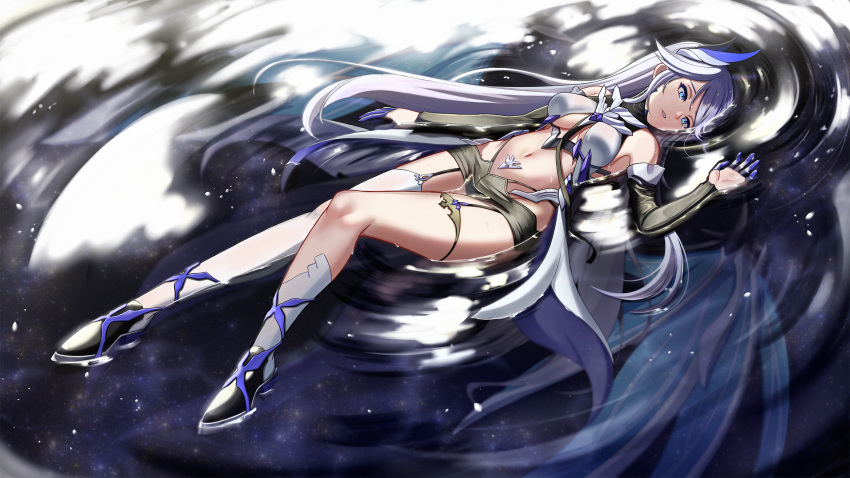 1girl aircell bangs bare_shoulders benares_(honkai_impact) blue_eyes breasts crying crying_with_eyes_open detached_sleeves elbow_gloves finger_gloves garter_straps gloves hair_between_eyes hair_ornament highres honkai_(series) honkai_impact_3rd long_hair medium_breasts navel partially_submerged shoes sidelocks silver_hair single_elbow_glove single_thighhigh tears thigh-highs thighs very_long_hair wet