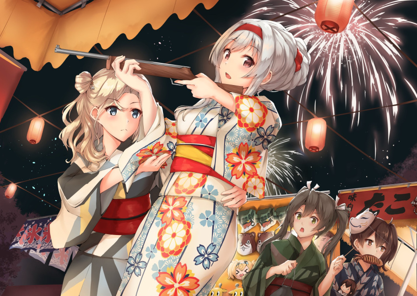 4girls aerial_fireworks akagi_(kantai_collection) blonde_hair blue_eyes blue_kimono blush bokukawauso brown_eyes brown_hair closed_mouth eyebrows_visible_through_hair fireworks floral_print fox_mask gambier_bay_(kantai_collection) green_eyes green_kimono hair_between_eyes highres holding hornet_(kantai_collection) ikayaki japanese_clothes k_jie kaga_(kantai_collection) kantai_collection kimono long_hair long_sleeves mask mask_on_head mouth_hold multiple_girls night obi open_mouth print_kimono sash shoukaku_(kantai_collection) side_ponytail twintails white_hair wide_sleeves yukata zuikaku_(kantai_collection)