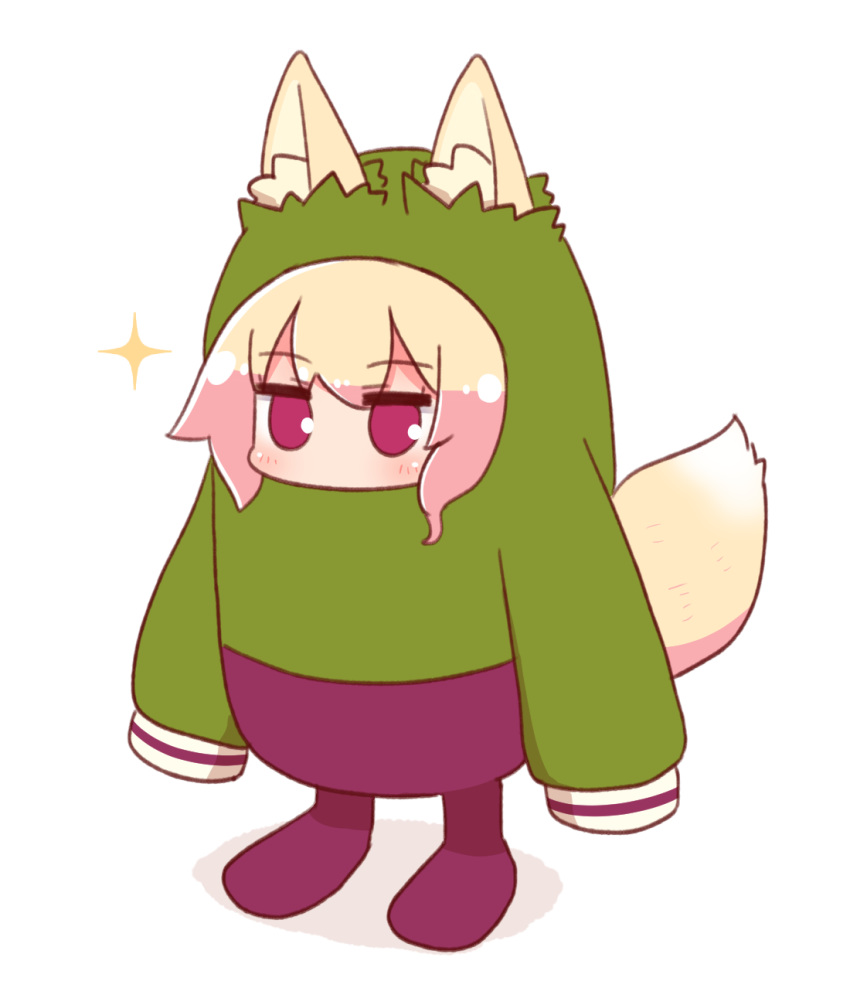 1girl animal_ear_fluff animal_ears bangs blonde_hair blush eyebrows_visible_through_hair fall_guys fox_ears fox_girl fox_tail full_body green_shirt hair_between_eyes highres kemomimi-chan_(naga_u) long_hair long_sleeves naga_u original pants purple_footwear purple_pants shirt sidelocks sleeves_past_fingers sleeves_past_wrists solo sparkle standing tail violet_eyes white_background