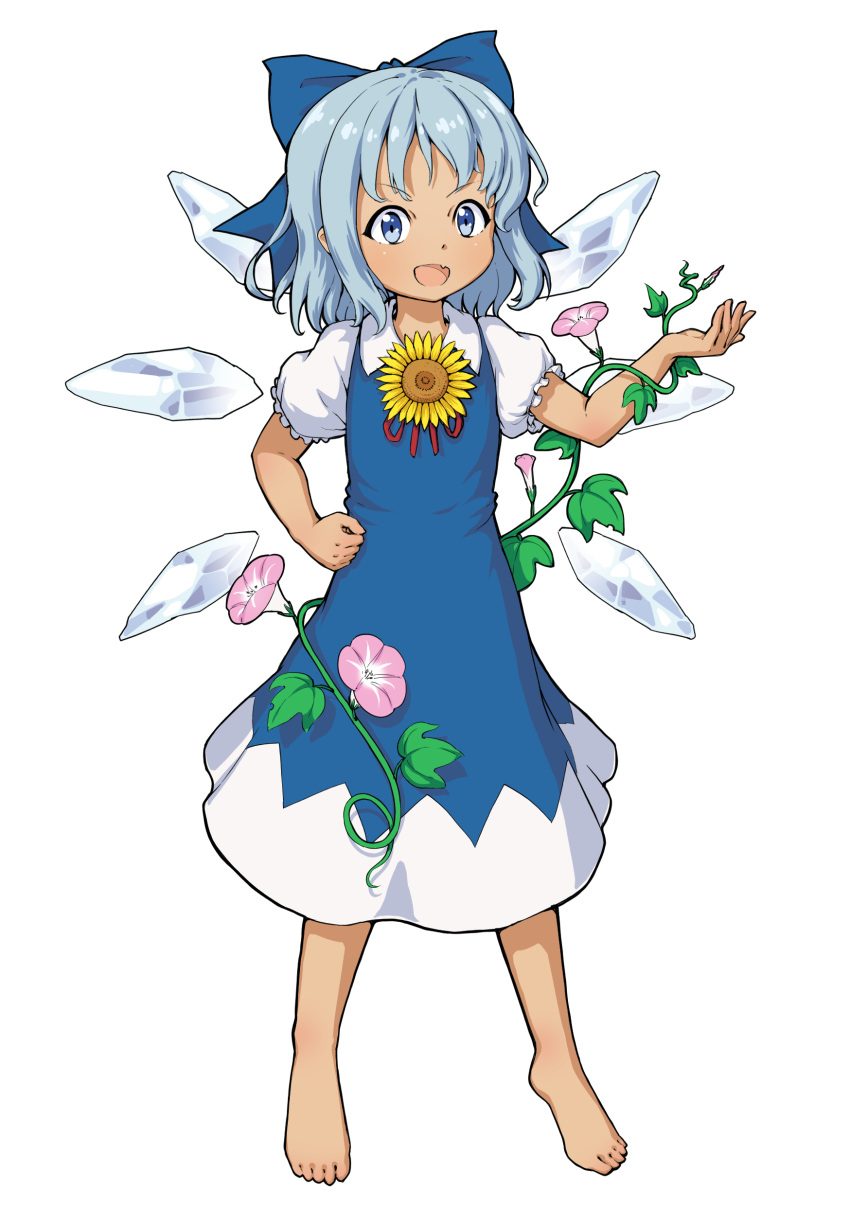 1girl absurdres barefoot blue_eyes bow cirno dress fang flower full_body gykleo hair_bow hand_on_hip hidden_star_in_four_seasons highres ice ice_wings looking_at_viewer neck_ribbon open_mouth pinafore_dress plant puffy_short_sleeves puffy_sleeves red_neckwear ribbon short_hair short_sleeves simple_background skin_fang smile solo sunflower tan tanned_cirno touhou vines white_background wings