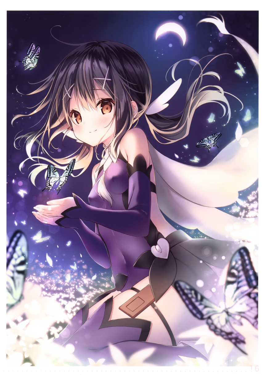 1girl absurdres ahoge bangs bare_shoulders black_hair blurry breasts brown_eyes bug butterfly cape closed_mouth covered_navel covered_nipples crescent_moon depth_of_field detached_sleeves eyebrows_visible_through_hair fate/kaleid_liner_prisma_illya fate_(series) floating_hair flower futaba_miwa hair_ornament highres insect leotard light_particles long_hair long_sleeves looking_at_viewer low_twintails magical_girl miyu_edelfelt moon page_number purple_legwear purple_leotard scan seiza shiny shiny_hair sidelocks signature simple_background sitting skindentation sleeves_past_wrists small_breasts smile solo thigh-highs thigh_strap tied_hair twintails x_hair_ornament