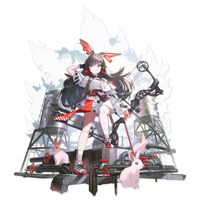 1girl :p animal_ears april_(arknights) arknights arm_up arrow_(projectile) asymmetrical_sleeves bangs bare_legs black_gloves black_hair bow_(weapon) compound_bow crossed_legs dress elite_ii_(arknights) full_body gloves hair_between_eyes hand_in_hair highres holding holding_bow_(weapon) holding_weapon long_hair long_sleeves looking_at_viewer official_art quiver rabbit rabbit_ears reoen shoes short_dress short_sleeves single_glove smile sneakers socks solo standing tongue tongue_out transparent_background very_long_hair violet_eyes water_tower watson_cross weapon white_dress white_footwear white_legwear
