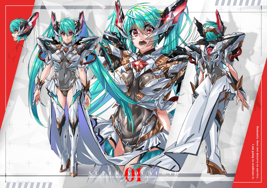 1girl absurdres alternate_costume blue_hair breasts copyright_name english_text hatsune_miku highres mecha_musume medium_breasts multiple_views open_mouth paintedmike red_eyes twintails vocaloid