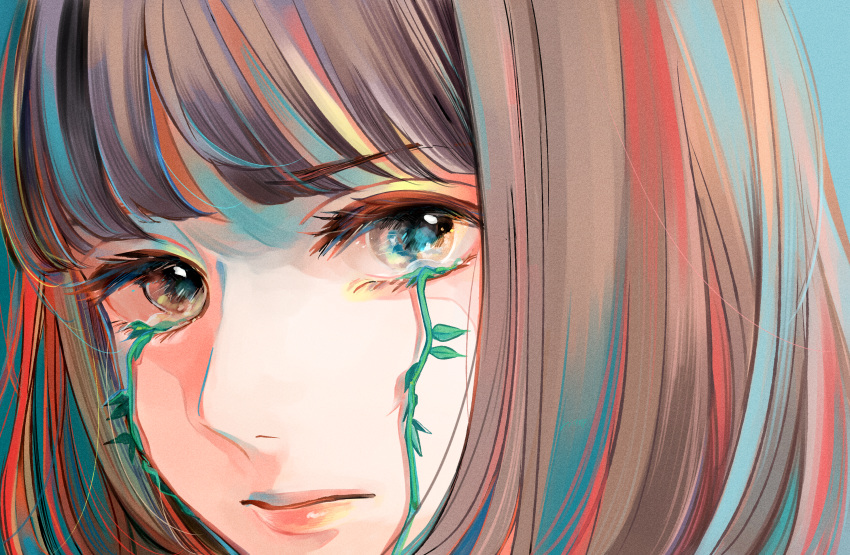 1girl absurdres bangs brown_eyes brown_hair highres huge_filesize long_hair looking_at_viewer original plant richard_(ri39p) tears vines