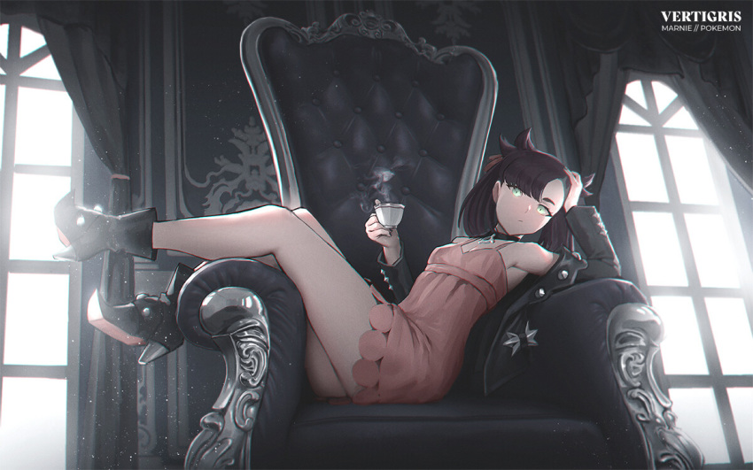 1girl artist_name asymmetrical_bangs bangs black_choker black_hair black_jacket chair character_name choker commentary copyright_name cup curtains dress english_commentary hair_ribbon holding holding_cup indoors jacket long_sleeves looking_at_viewer marnie_(pokemon) open_clothes pink_dress pokemon pokemon_(game) pokemon_swsh ribbon sitting_sideways solo teacup vertigris window