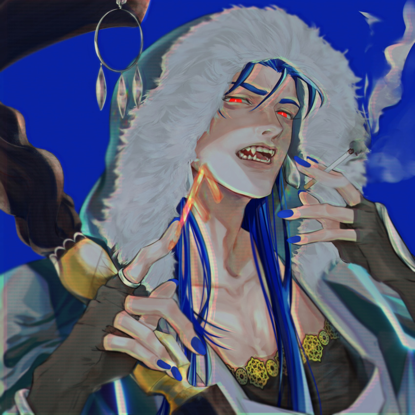 1boy ansuz blue_background blue_hair bright_pupils cigarette collarbone cu_chulainn_(fate)_(all) cu_chulainn_(fate/grand_order) fang fate/grand_order fate_(series) fur fur-trimmed_hood fur_trim highres hood hood_up long_hair looking_at_viewer nail_polish open_mouth pointing red_eyes runes sharp_teeth simple_background smoke smoking solo staff teeth tensei_(thscjstod) type-moon white_background white_pupils