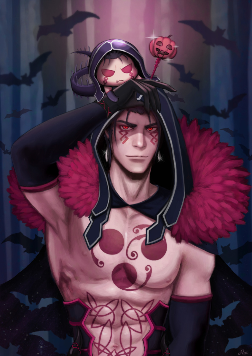 abs absurdres animal armpits bare_chest bat bodypaint cape chibi collarbone cu_chulainn_(fate)_(all) cu_chulainn_alter_(fate/grand_order) earrings elbow_gloves fate/grand_order fate/stay_night fate_(series) fur gae_bolg gloves glowing glowing_eyes halloween highres hood hood_up hooded_cape jack-o'-lantern jewelry lips mini_cu-chan muscle navel nipples rie_(lie0715) shirtless tail