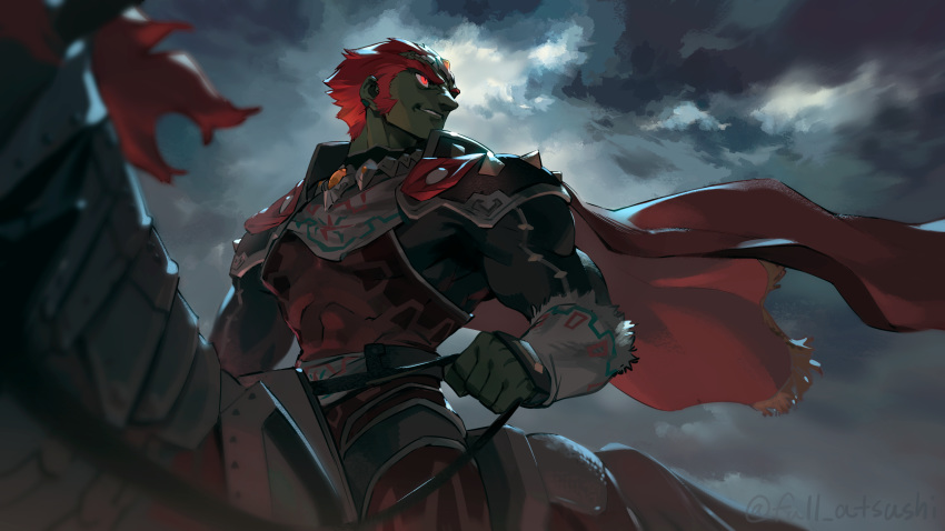 1boy armor belt blanco026 blurry blurry_foreground cape clouds cloudy_sky commentary_request dark dark_skin depth_of_field ear_piercing frayed_clothes ganondorf glowing glowing_eyes grin headpiece highres holding holding_reins horse horseback_riding looking_away looking_to_the_side male_focus outdoors piercing red_cape red_eyes redhead reins riding short_hair shoulder_armor sideburns signature sky smile solo_focus the_legend_of_zelda the_legend_of_zelda:_ocarina_of_time thick_eyebrows twitter_username very_short_hair