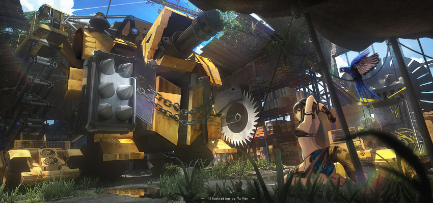 1girl absurdres arknights artist_name backless_outfit barefoot bird brown_hair chain circular_saw double-flo electric_fan eunectes_(arknights) gatling_gun gloves grass highres huge_filesize mecha overgrown parrot pointy_ears ruins seiza sitting snake_tail tail warehouse