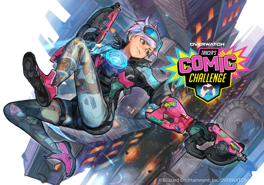 1girl absurdres alternate_costume alternate_hair_color black_gloves bodysuit bomber_jacket brown_eyes chest_harness comic_book_tracer commentary_request copyright_name dual_wielding falling finger_on_trigger full_body gloves goggles goggles_on_head gun hankuri harness highres holding jacket king's_row_(overwatch) looking_back machine_pistol official_art overwatch pink_footwear print_bodysuit purple_hair shoes short_hair skin_tight sleeves_pushed_up sneakers solo tracer_(overwatch) weapon
