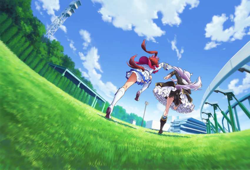 2girls animal_ears black_footwear blue_sky boots clouds fisheye from_behind gloves grass horse_ears horse_girl horse_racing_track horse_tail key_visual knee_boots layered_skirt long_hair long_sleeves mejiro_mcqueen multiple_girls official_art ponytail racing running silver_hair skirt sky tail tokai_teio tree umamusume white_footwear white_gloves white_skirt