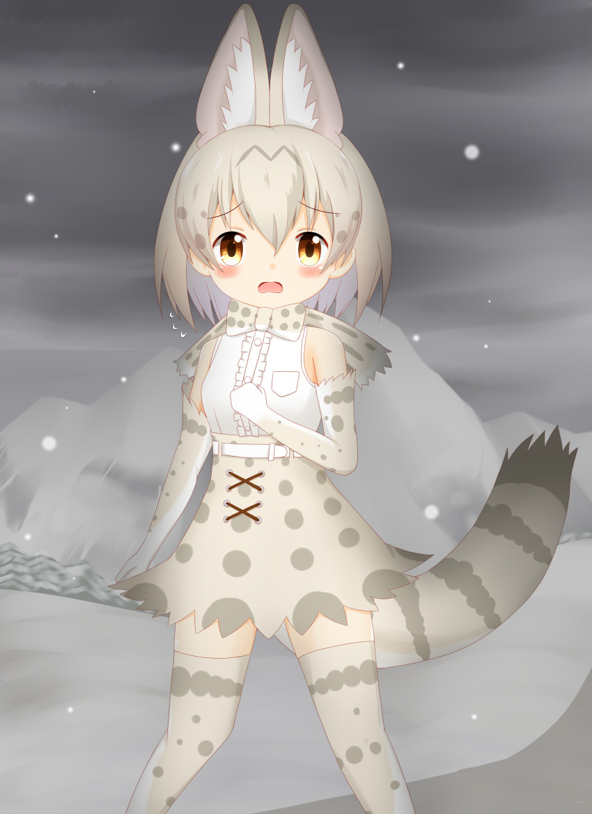 1girl absurdres animal_ear_fluff animal_ears bangs bare_shoulders blush breasts brown_eyes center_frills character_request clouds cloudy_sky commentary_request elbow_gloves eyebrows_visible_through_hair frills gloves grey_gloves grey_hair grey_legwear grey_skirt hair_between_eyes high-waist_skirt highres kemono_friends looking_at_viewer mountain open_mouth outdoors overcast shin01571 shirt skirt sky sleeveless sleeveless_shirt small_breasts snow snowing solo standing striped_tail tail thigh-highs white_gloves white_shirt