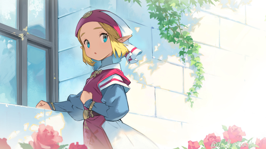 1girl :o blanco026 blonde_hair blue_eyes commentary_request cowboy_shot day dress flower forehead from_behind hand_on_own_chest highres long_sleeves looking_at_viewer looking_back open_mouth outdoors pink_flower pointy_ears princess_zelda puffy_long_sleeves puffy_sleeves short_hair solo stone_wall tabard the_legend_of_zelda the_legend_of_zelda:_ocarina_of_time veil wall white_dress window young_zelda