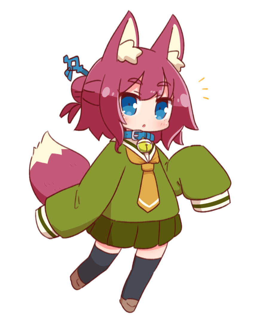 1girl :o alternate_color animal_ears bangs bell bell_collar black_legwear blue_collar blue_eyes blush brown_footwear brown_hair collar eyebrows_visible_through_hair fox_ears fox_girl fox_tail full_body green_serafuku green_shirt green_skirt hair_between_eyes highres jingle_bell kemomimi-chan_(naga_u) loafers long_sleeves looking_at_viewer naga_u notice_lines orange_neckwear original parted_lips pleated_skirt sailor_collar school_uniform serafuku shirt shoes simple_background skirt sleeves_past_fingers sleeves_past_wrists solo standing standing_on_one_leg tail thigh-highs white_background white_sailor_collar