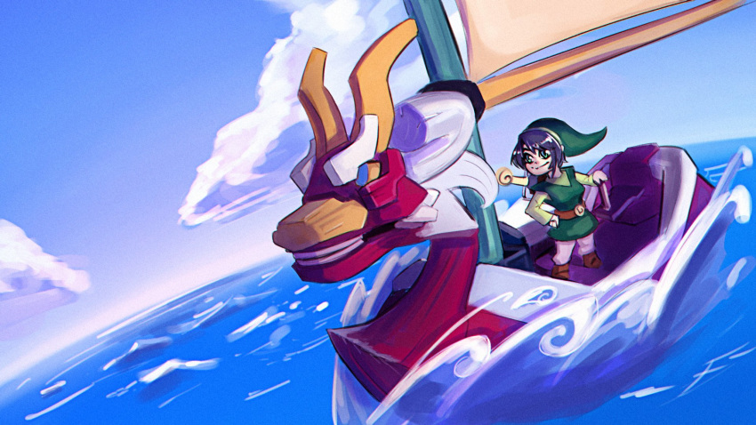 1girl black_hair blue_eyes boat cosmikaizer cosplay crossover highres hololive link looking_to_the_side ocean oozora_subaru sheath sheathed shield solo sword the_legend_of_zelda the_legend_of_zelda:_the_wind_waker toon_link toon_link_(cosplay) water watercraft weapon