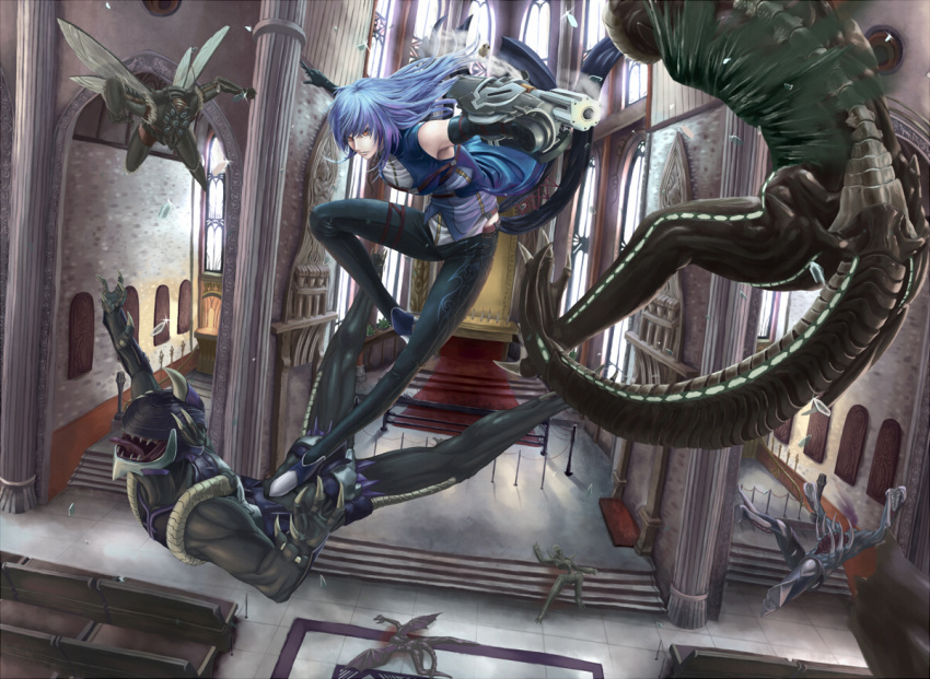 1girl battle black_gloves blood blue_hair broken_glass church claws closed_fan death diffraction_spikes elbow_gloves falling fan firing flying folding_fan glass glass_shards gloves green_blood gun holding holding_gun holding_weapon indoors insect_wings long_hair monster open_mouth orange_eyes original pew pillar saikoro_(et1312) shards sharp_teeth shell_casing steam tail teeth tongue tongue_out weapon wings