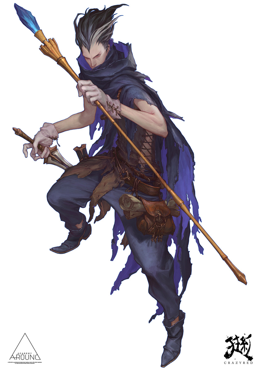 1boy belt belt_pouch black_cloak black_hair cloak crazyred dagger dual_wielding dungeons_and_dragons english_text gem gloves grey_hair hair_slicked_back highres holding holding_dagger holding_staff holding_weapon key keyring mage making-of_available male_focus multicolored multicolored_hair paper pouch scabbard scratches scroll sheath simple_background solo staff torn_cloak torn_clothes unsheathed weapon white_background white_gloves