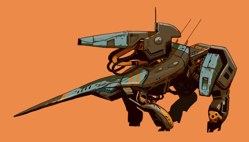 blue_eyes extra_eyes highres makitagenia mecha no_humans orange_background original shadow solo turret walking wire