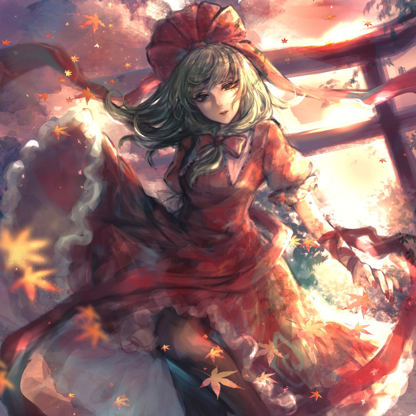 1girl absurdres arm_ribbon autumn bangs black_legwear blurry_foreground bow clouds cloudy_sky commentary dress eyelashes falling_leaves frilled_dress frilled_sleeves frills front_ponytail green_eyes green_hair hair_bow hair_ribbon highres kagiyama_hina kyogoku-uru leaf lips looking_at_viewer maple_leaf nail_polish pantyhose puffy_short_sleeves puffy_sleeves red_bow red_dress red_nails red_ribbon ribbon short_sleeves skirt skirt_lift sky solo torii touhou