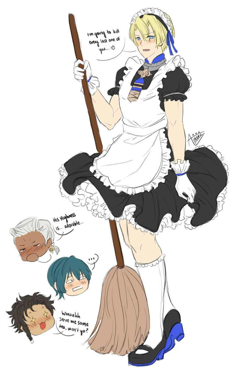 +_+ ... 4boys :3 :d absurdres aimaru alternate_costume apron aqua_hair bangs black_dress black_footwear black_hair blonde_hair blue_eyes blue_ribbon blush braid broom byleth_(fire_emblem) byleth_(fire_emblem)_(male) claude_von_riegan commentary crossdressing dark_skin dedue_molinaro dimitri_alexandre_blaiddyd dress english_commentary enmaided eyebrows_visible_through_hair fire_emblem fire_emblem:_three_houses frilled_apron frills full_body gloves hair_between_eyes hair_ribbon hand_up highres holding holding_broom kneehighs looking_at_viewer maid maid_apron maid_headdress male_focus mary_janes multiple_boys open_mouth petticoat puffy_short_sleeves puffy_sleeves ribbon shoes short_hair short_sleeves silver_hair simple_background single_braid smile speech_bubble spoken_ellipsis standing white_apron white_background white_gloves white_legwear