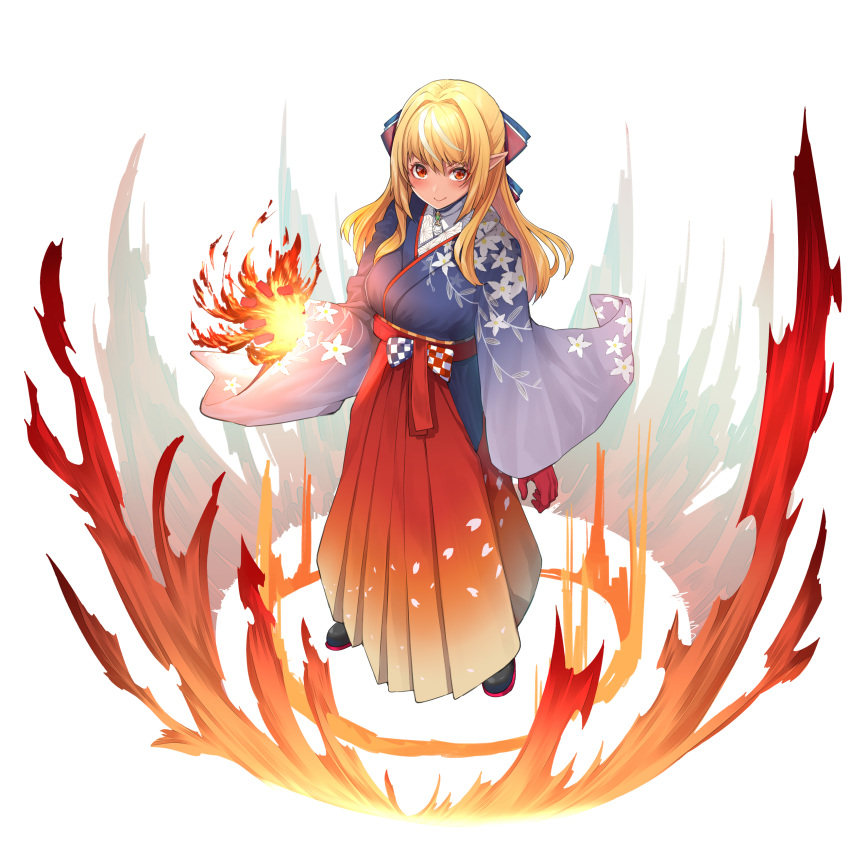 1girl absurdres bangs blonde_hair blue_kimono blush bow brooch closed_mouth dark_skin elf fire floral_print from_above full_body gloves hair_bow hair_intakes hakama highres hololive hololive_fantasy japanese_clothes jewelry kimono locket long_hair long_skirt looking_at_viewer mikan_(chipstar182) multicolored_hair pendant pleated_skirt pointy_ears pyrokinesis red_eyes red_gloves red_hakama red_skirt shiranui_flare sidelocks skirt smile solo streaked_hair v-shaped_eyebrows virtual_youtuber wide_sleeves