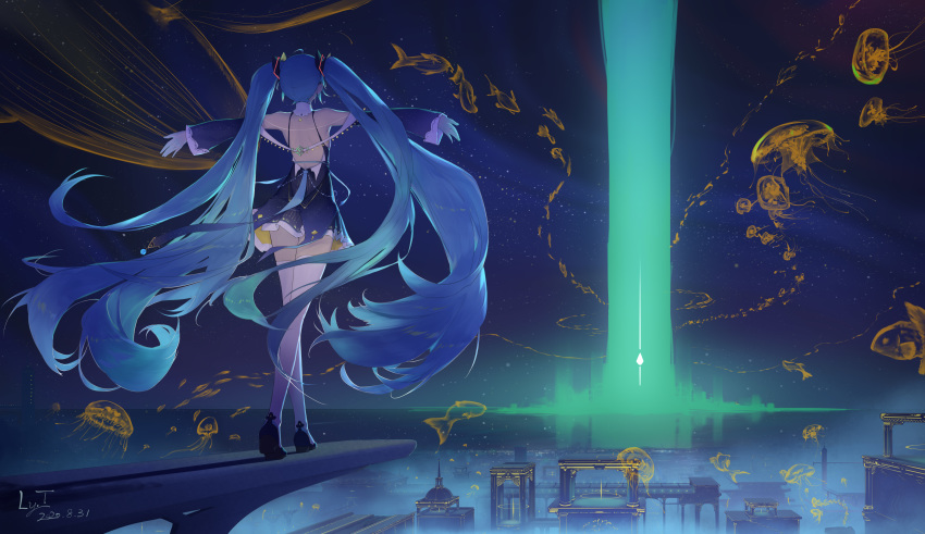 1girl absurdres aqua_hair bare_shoulders beam blue_footwear blue_hair building coin_(ornament) detached_sleeves dress facing_away flying_fish flying_whale from_behind gloves hair_ornament hatsune_miku highres horizon jellyfish jewelry long_hair ly.t night night_sky outdoors outstretched_arms reflection school_of_fish shadow shoes short_dress sky sleeve_cuffs solo spread_arms thigh-highs twintails very_long_hair vocaloid walking white_gloves white_legwear zettai_ryouiki
