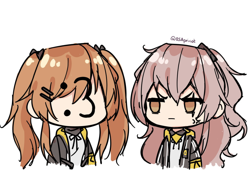 2girls :3 anger_vein artist_name black_jacket brown_hair bsapricot chibi closed_mouth girls_frontline grey_hair hair_ornament highres jacket looking_at_another multiple_girls scar scar_across_eye shirt siblings side_ponytail signature simple_background twins twintails ump45_(girls_frontline) ump9_(girls_frontline) white_background white_shirt