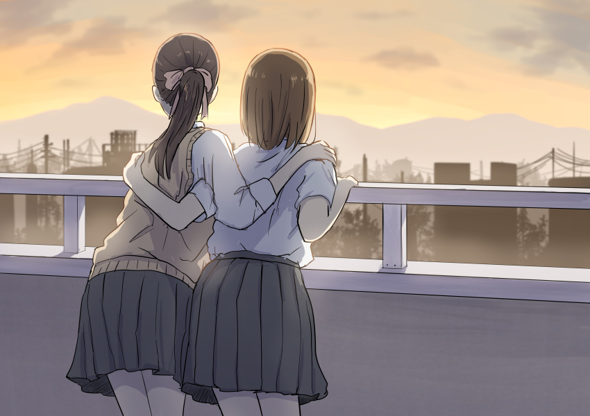 2girls absurdres betock black_hair brown_hair city from_behind hand_on_another's_shoulder highres mountainous_horizon multiple_girls original outdoors ponytail railing school_uniform short_hair standing sunset sweater_vest yuri